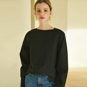 boat-neck cotton shirt (black)