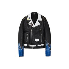 CUSTOM HANDMADE VINTAGE LEATHER JACKET awa002u(Black / Blue)
