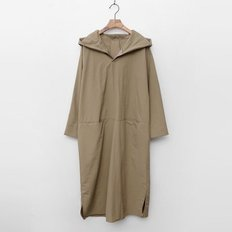 Nylon Cotton Hoodie Long Dress