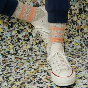 Melange Striped Socks (Light Oatmeal/Orange)