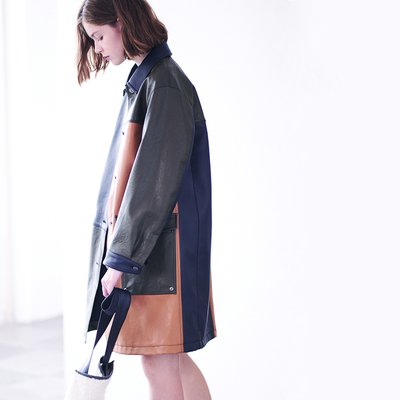 MULTI PATCH ECO LEATHER COAT [MULTI COLOR]