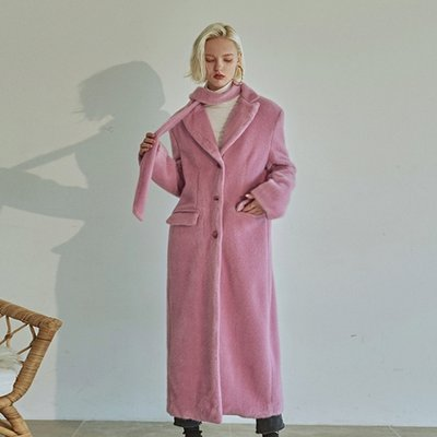 [DEANS] FUR LONG SINGLE COAT_PINK
