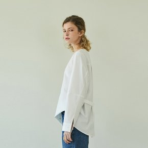 boat-neck cotton shirt (off white)