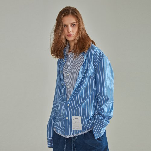[NOHANT] DOUBLE LAYER LABEL SHIRT STRIPE BLUE