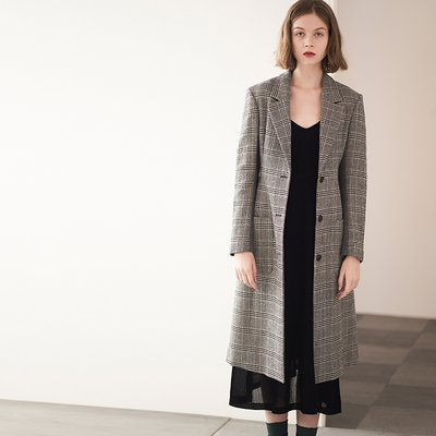 SLIM-FIT WOOL COAT [GREY]
