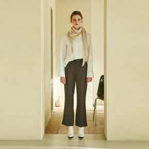 wool boot-cut pants (brown)