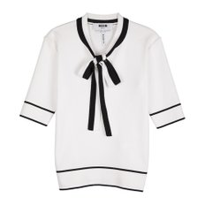 공식[MSGM] W_Double Cotton Short Sleeve Knit(WHITE)