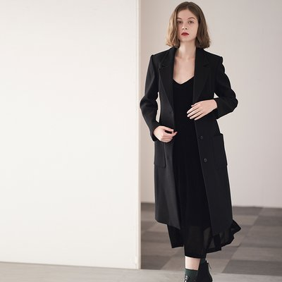 SLIM-FIT WOOL COAT [BLACK]