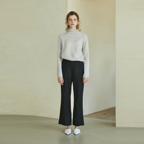 wool boot-cut pants (black)