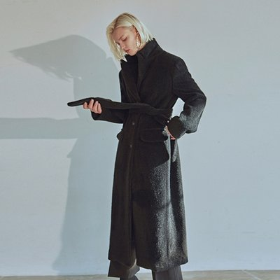 [DEANS] FUR LONG SINGLE COAT_BLACK