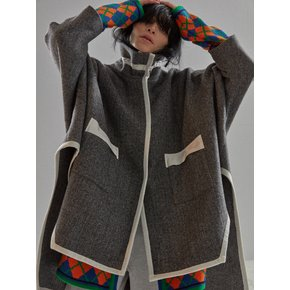 [MIMICAWE] KNIT TRIMMED CAPE COAT/CHARCOAL GREY