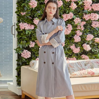 DOUBLE LONG TRENCH COAT_SKY BLUE (2222644)