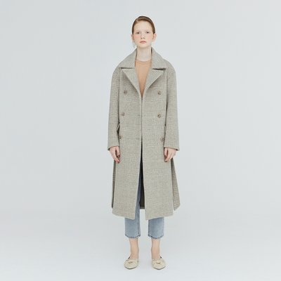 [가브리엘리] 19FW OVERSIZED CHECK DOUBLE-FACED WOOL COAT - DOVE GREY CHECK
