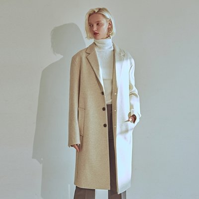 [DEANS] W STAND WOOL SINGLE COAT_IVORY