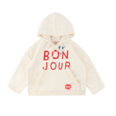 Bonjour frill pocket hooded sweatshirt