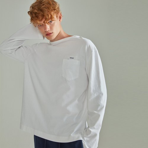 [NOHANT] BASIC POCKET LABEL LONG SLEEVE T SHIRT WHITE
