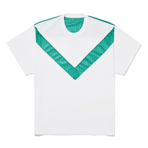 V SWITCHED TEE WHITExGREEN