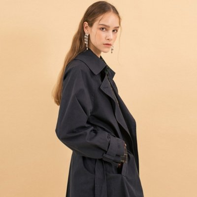 Maxi Trench Coat - Navy