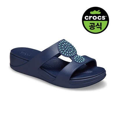크록스공식 여성 CROCS MONTEREY DIAMANTE WEDGE FLIP W NAVY (20SWWD206343)