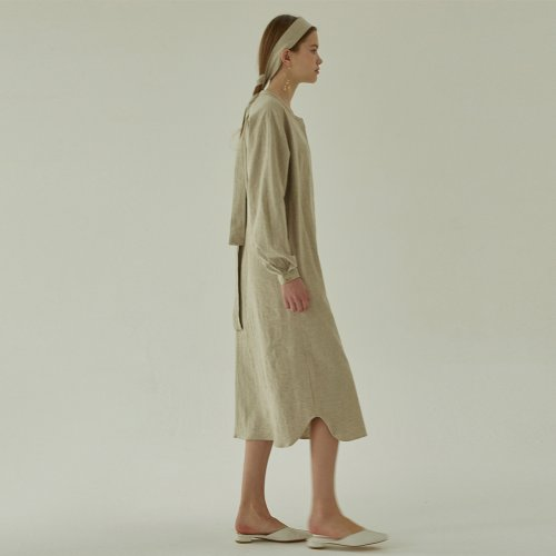 [ALAND]LINEN ROBE DRESS - BEIGE