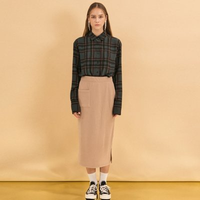 Brush Pocket Skirt - Beige
