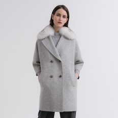 ALPACA BLEND FUR COLLAR DOUBLE COAT 9D779