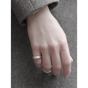 [유선 착용]096 Semi Matte Bulging Silver Ring