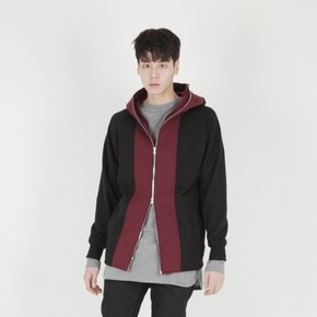 [MOHAN] TWO TONE FULL ZIP-UP HOODIE BLACK