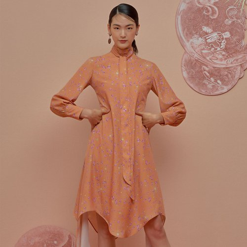MELTING DOWN SCARF DRESS - PERSIMMON