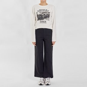 / semi-flared cotton pants(2 colors)