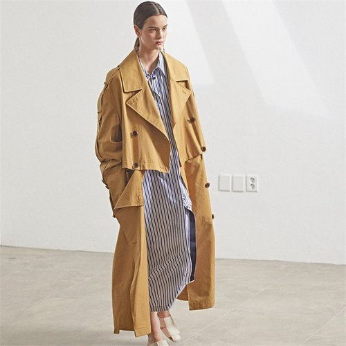 [MUSEE]Fieno Oversized Trench Coat _Mustard camel (2105864)