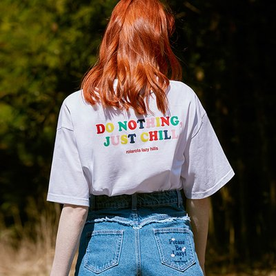 (TS-20306) BACK RAINBOW LETTERING T-SHIRT WHITE
