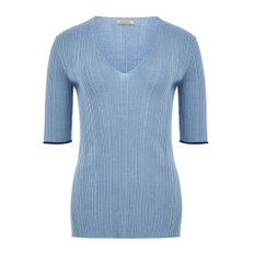 공식[NINA RICCI] W_SS DOUBLE RIB PULLOVER VNECK (LIGHT BLUE)
