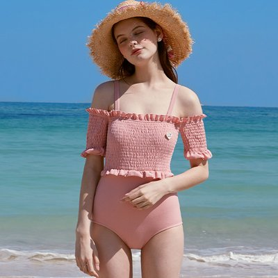 (OP-20374) FRILL SMOCKING ONEPIECE SWIMSUIT INDI PINK