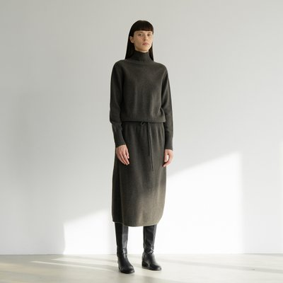 wool string turtle-neck onepiece (charcoal)