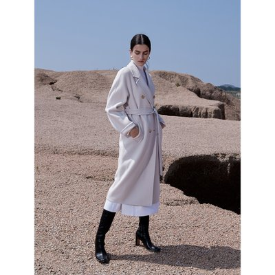 Cashmere Handmade Belted Double Coat_Ivory