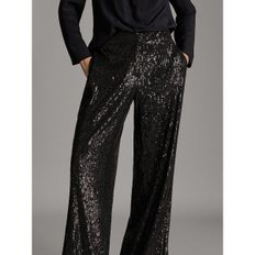 STRAIGHT FIT SEQUINNED BLACK TROUSERS 05100520800