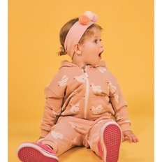 Multi dove baby hood zip up jacket
