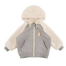 Polar bear baby dumble fur zip up jacket / BP8437115