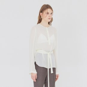 [가브리엘리]  19SS SHEER BLOUSE WITH BELT - CREAM