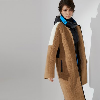 Shearling Textured Cocoon Coat Camel