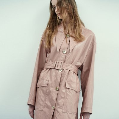 Retro Collar Leather Coat in Rose Pink