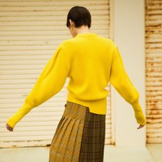 RONA PUFF SLEEVE RIBBED CASHMERE SWEATER atb290w(Yellow)