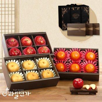 [과일연가][과일선물세트] 특별기획 3단 명절 선물세트(사과6개,배6개,감6개)