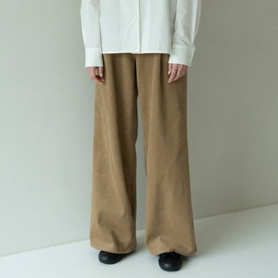 cotton pintuck wide pants (brown)