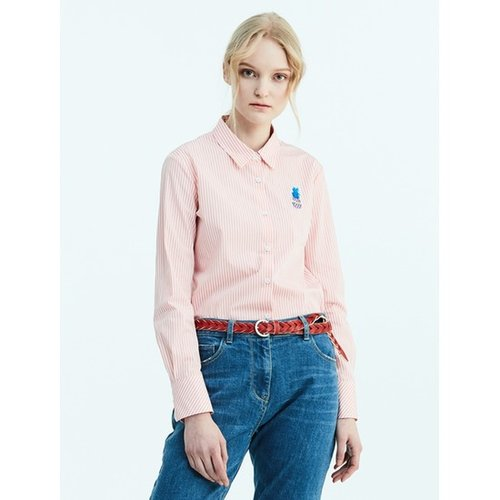 [Special Off 30%] [LIME BEANPOLE] 라이트 핑크 베이직 스트라이프 셔츠 (BF8264N01Y)