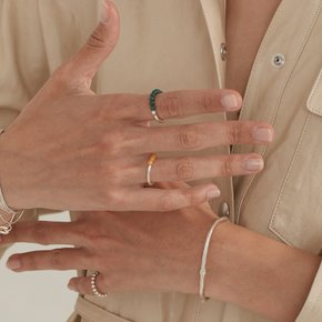 Colored ball Ring (Beige, Green, Orange)
