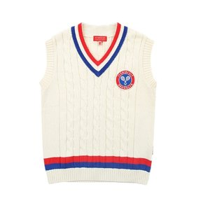 Icebiscuit tennis emblem cable sweater vest