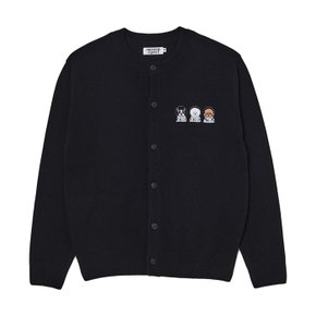 [M 10/14 출고]APOLLO COLLECTION CREW LOGO ROUND KNIT CARDIGAN BLACK (S5874163)