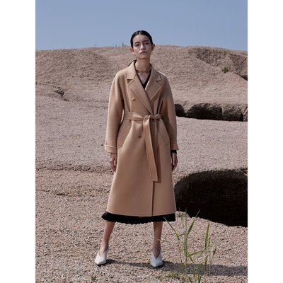 Cashmere Handmade Belted Double Coat_Camel